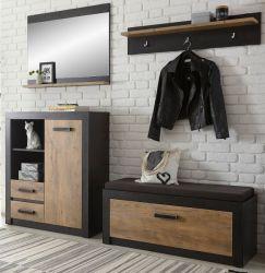 Garderobenkombination Beveren in Kastanie und Fresco grau Garderobe Set 5-teilig 219 x 200 cm
