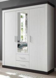 Kleiderschrank Corela in Pinie weiß und Wenge Landhaus Drehtürenschrank 3-türig mit Spiegel 169 x 201 cm
