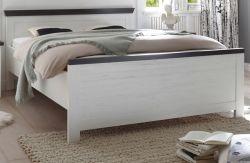 Bett Corela in Pinie weiß und Wenge Landhaus Einzelbett Liegefläche 140 x 200 cm