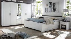 Schlafzimmer komplett Corela in Pinie weiß und Wenge Landhaus Komplettzimmer mit Doppelbett, Kleiderschrank und 2 x Nachttisch