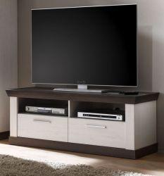 TV-Lowboard Corela in Pinie weiß und Wenge Landhaus TV-Unterteil 135 x 51 cm
