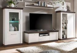 Wohnwand Corela in Pinie weiß und Wenge Landhaus Wohnkombination 4-teilig 357 x 170 cm