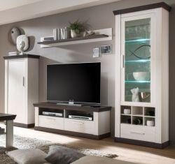 Wohnwand Corela in Pinie weiß und Wenge Landhaus Wohnkombination 4-teilig 299 x 201 cm
