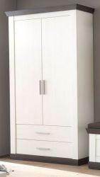 Garderobenschrank Corela in Pinie weiß und Wenge Landhaus Garderobe oder großer Schuhschrank 107 x 201 cm