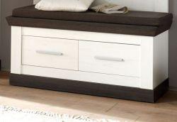 Garderobe Sitzbank Corela in Pinie weiß und Wenge Landhaus Garderobenbank mit Sitzkissen 107 x 53 cm