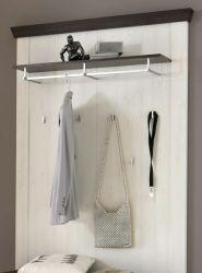 Garderobenpaneel Corela in Pinie weiß und Wenge Landhaus Wandgarderobe 107 x 153 cm
