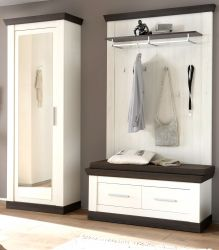 Garderobenkombination Corela in Pinie weiß und Wenge Landhaus Garderobe Set 4-tlg. 190 x 201 cm