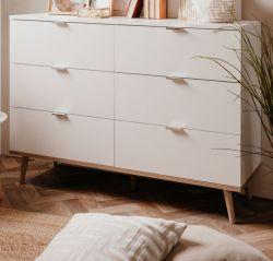Kommode Göteborg in matt weiß mit Sonoma Eiche massiv Schubladenkommode skandinavisch 120 x 87 cm