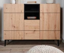 Kommode Nola in Artisan Eiche und schwarz Sideboard 120 x 90 cm