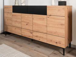 Sideboard Nola in Artisan Eiche und schwarz Anrichte 180 x 90 cm