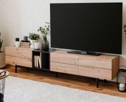 TV-Lowboard Nola in Artisan Eiche und schwarz TV-Unterteil 195 x 48 cm