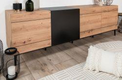 TV-Lowboard Nola in Artisan Eiche und schwarz TV-Unterteil 200 x 65 cm