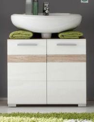 Waschbecken Unterschrank Set One Badmöbel Hochglanz weiß tiefgezogen mit Eiche Details San Remo