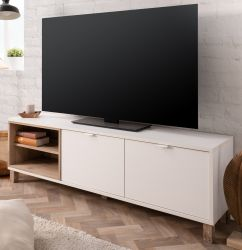 TV-Lowboard Menorca in weiß und Shabby Used Wood hell TV-Board 150 x 50 cm Pale Wood