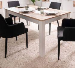 Esstisch Menorca in weiß und Shabby Used Wood hell Küchentisch ausziehbar mit Einlegeplatte 160 / 215 x 90 cm Pale Wood