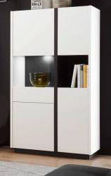 Vitrine Design-M in weiß matt und Fresco grau Vitrinenschrank 73 x 140 cm