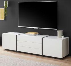 TV-Lowboard Design-M in weiß matt und Fresco grau Flat TV Unterschrank 190 x 50 cm