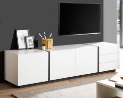 TV-Lowboard Design-M in weiß matt und Fresco grau Flat TV Unterschrank 210 x 50 cm