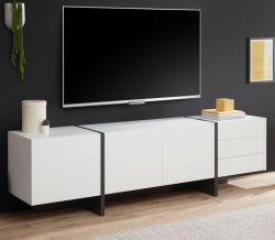 TV-Lowboard Design-M in weiß matt und Fresco grau Flat TV Unterschrank in Komforthöhe 210 x 60 cm