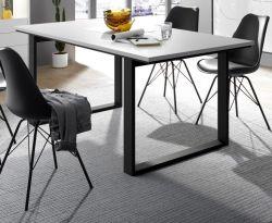Esstisch Design-M in weiß matt und schwarz Küchentisch 160 x 80 cm