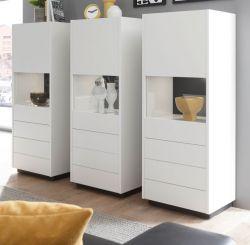 Schrank Set 3-teilig Design-M in weiß matt und Fresco grau Wohnkombination 3 x Vitrine 205 x 140 cm