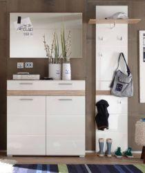 Garderobenkombination SetOne in Hochglanz weiß und Eiche San Remo Garderobenset 3-tlg. 171 x 195 cm