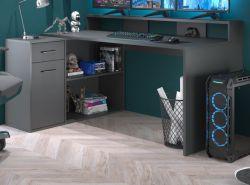 Schreibtisch Gamer in anthrazit matt Eckschreibtisch mit Schubkasten 160 - 200 x 92 cm Gamingtisch