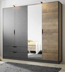 Kleiderschrank Galen in Eiche Montana und Matera grau Drehtürenschrank 4-türig mit Spiegel 220 x 205 cm