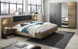 Schlafzimmer komplett Galen in Eiche Montana und Matera grau Komplettzimmer mit Bett, Kleiderschrank und 2x Nachttisch