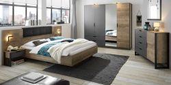 Schlafzimmer komplett Galen in Eiche Montana und Matera grau Komplettzimmer mit Bett, Kleiderschrank, Kommode und 2x Nachttisch