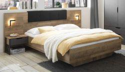 Bettanlage Galen in Eiche Montana und Matera grau Schlafzimmer Set 3-teilig mit Bett Liegefläche 160 x 200 cm und 2 x Nachttisch