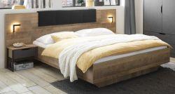 Bettanlage Galen in Eiche Montana und Matera grau Schlafzimmer Set 3-teilig mit Bett Liegefläche 180 x 200 cm und 2 x Nachttisch