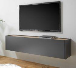 TV-Lowboard Center in grau matt und Wotan Eiche TV-Unterteil hängend 150 x 35 cm Hängeschrank