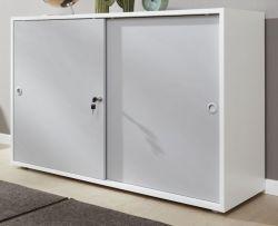 Schiebetürenschrank Basix in weiß und grau Büro Aktenschrank Sideboard abschließbar 118 x 78 cm
