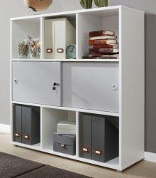Regal mit Schiebetüren Basix in weiß und grau Büro Standregal abschließbar 106 x 109 cm