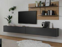 Wohnkombination Center in grau matt und Wotan Eiche Wohnwand 3-teilig 300 x 180 cm mit XXL-Board und Wandpaneel