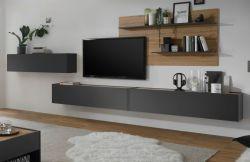 Wohnkombination Center in grau matt und Wotan Eiche Wohnwand 4-teilig 400 x 180 cm mit XXL-Board und Wandpaneel