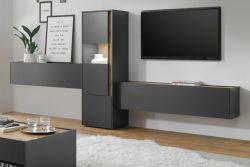 Wohnkombination Center in grau matt und Wotan Eiche Wohnwand 3-teilig 350 x 155 cm