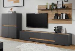 Wohnwand Center in grau matt und Wotan Eiche Wohnkombination 3-teilig 360 x 180 cm mit XL-Board