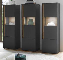 Schrank Set 3-teilig Center in grau matt und Wotan Eiche Wohnkombination 3 x Vitrine 190 x 155 cm