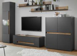 Wohnwand Center in grau matt und Wotan Eiche Wohnkombination 5-teilig 350 x 197 cm