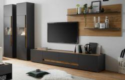 Wohnwand Center in grau matt und Wotan Eiche Wohnkombination 4-teilig 400 x 197 cm mit XL-Board