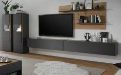 Wohnwand Center in grau matt und Wotan Eiche Wohnkombination 5-teilig 440 x 180 cm mit XXL-Board