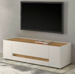 TV-Lowboard Center in weiß und Wotan Eiche TV-Unterteil 140 x 40 cm