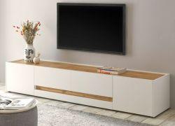 TV-Lowboard Center in weiß und Wotan Eiche TV-Unterteil 220 x 40 cm TV-Board XL
