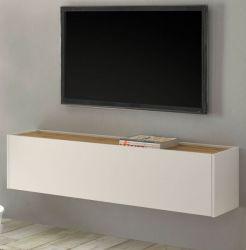 TV-Lowboard Center in weiß und Wotan Eiche TV-Unterteil hängend 150 x 35 cm Hängeschrank