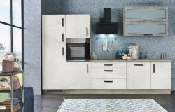 Küchenblock Einbauküche Svenja Beton Dekor inkl. E-Geräte + Geschirrspüler Backofen-Hochschrank Doppelklappenglashänger 320 cm