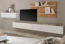 Wohnkombination Center in weiß und Wotan Eiche Wohnwand 4-teilig 400 x 180 cm mit XXL-Board und Wandpaneel