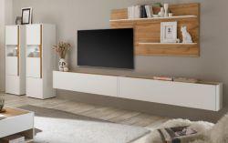 Wohnwand Center in weiß und Wotan Eiche Wohnkombination 5-teilig 440 x 180 cm mit XXL-Board