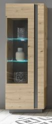Vitrine Louna in Eiche Artisan und Graphit grau Vitrinenschrank 60 x 194 cm